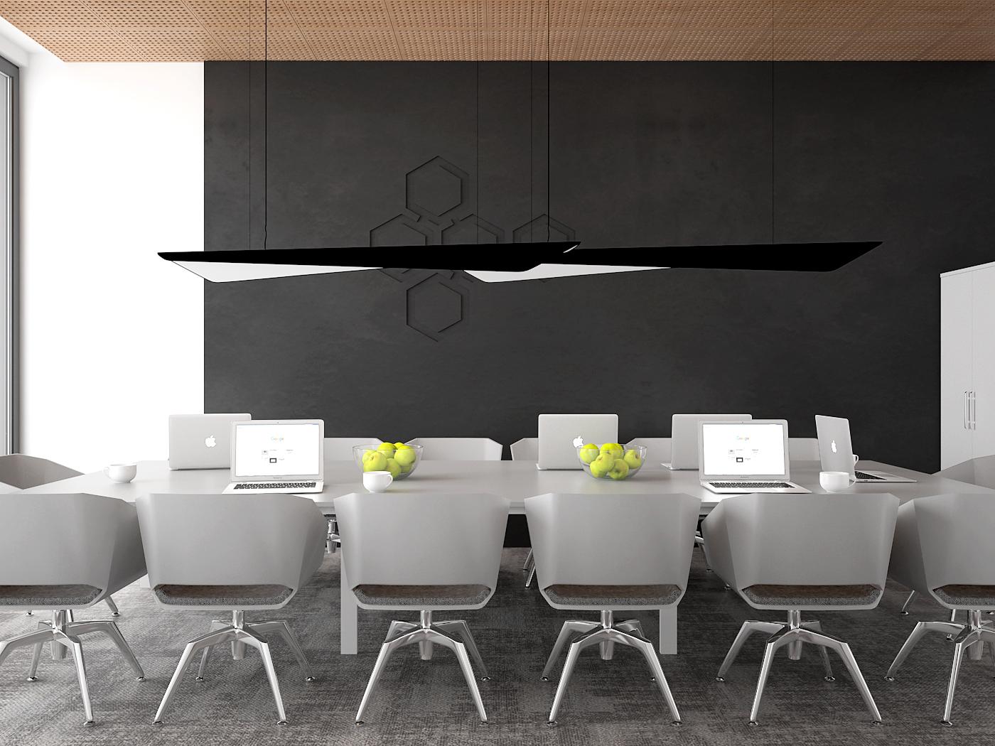 1 aranzacja biura 485 biuro krakow sala konferencyjna duzy bialy stol konferencyjny szare krzesla czarna sciana azurowy wygluszajacy sufit lampy wave