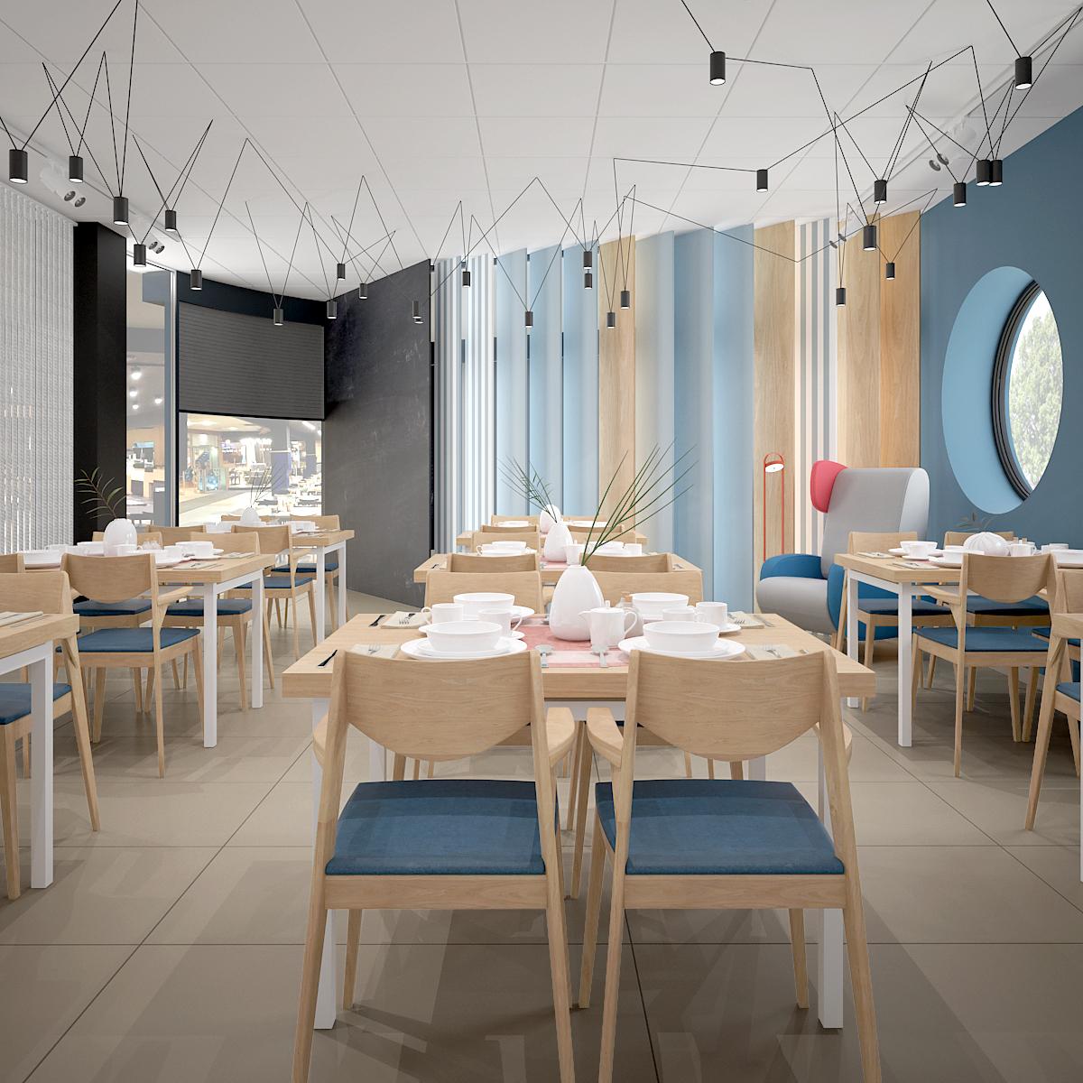 1 aranzacja wnetrza 464 sala restauracyjna krakow drewniane stoly drewniane krzesla z tapicerowanymi siedziskami kolorowe azurowe panele na scianie okragle okno