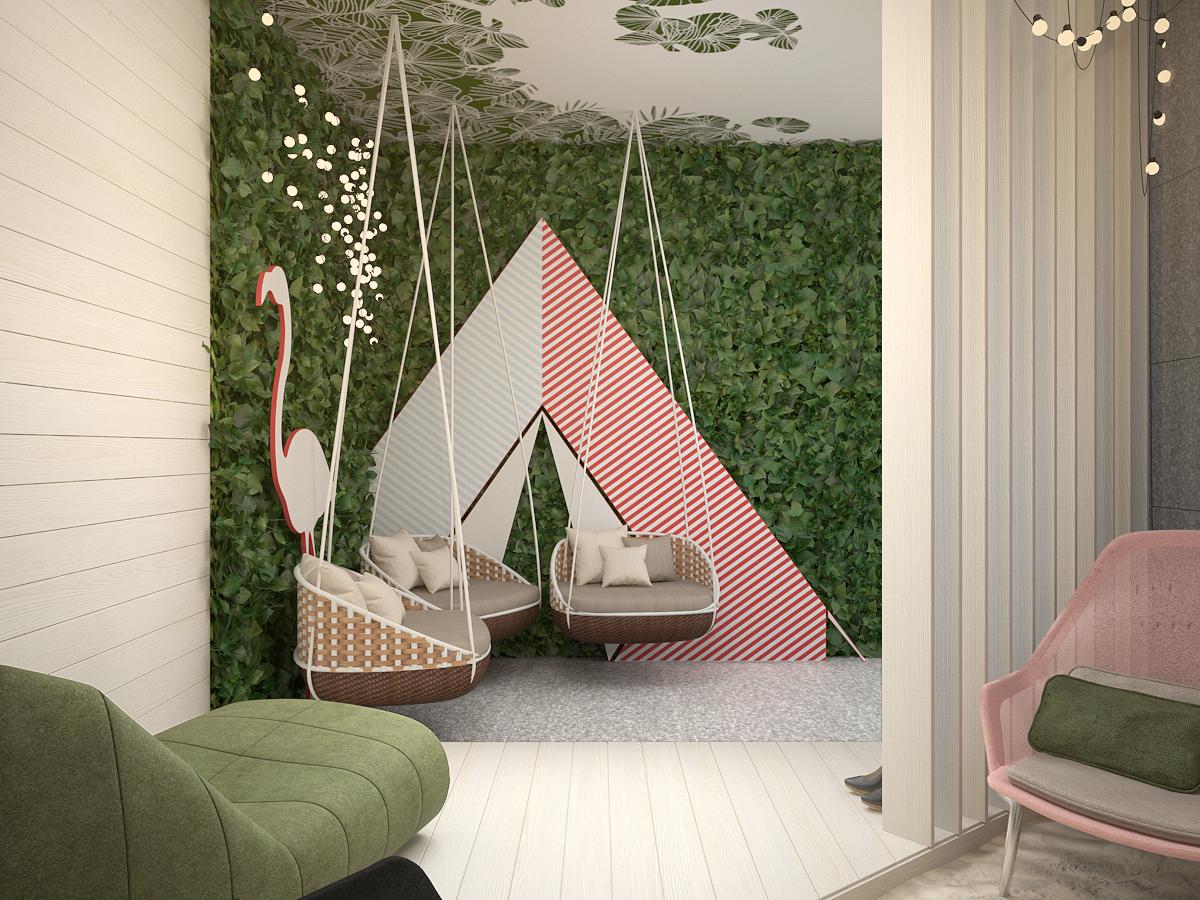1 projekt biura 489 strefa rekreacyjna wiszace fotele zielona sciana tapeta na suficie panele na scianie azurowe panele