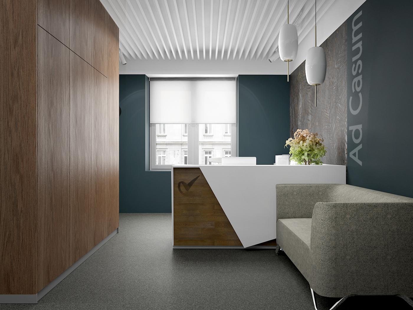 1 projekt biura 547 Kancelaria warszawa lada recepcyjna sofa w poczekalni sciana z plyty meblowej azurowy sufit