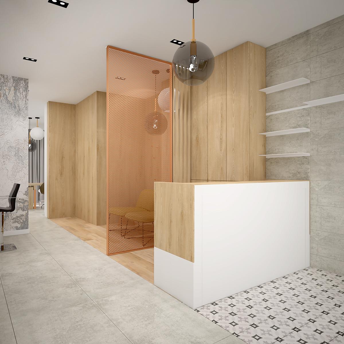 1 projekt wnetrza 544 salon kosmetyczny krakow recepcja lada recepcyjna pomaranczowa azurowa scianka polaczenia drewna i plytek