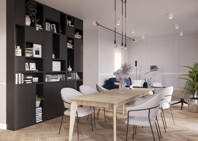 1 projektant wnetrz 482 mieszkanie krakow salon z jadalnia duzy drewniany stol czarna zabudowa z otwartymi polkami sztukateria parkiet w jodelke
