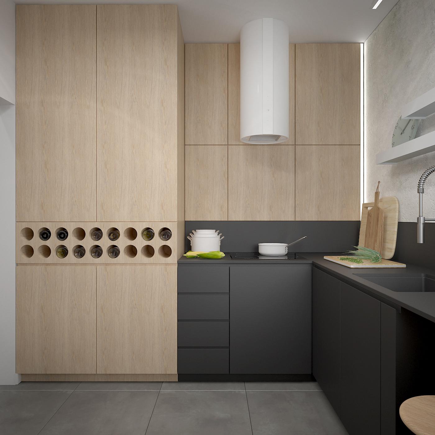 10 projekt wnetrza 537 mieszkanie krakow kuchnia nietypowa polka na wina poloczenie drewna i czarnych frontow okap przyscienny