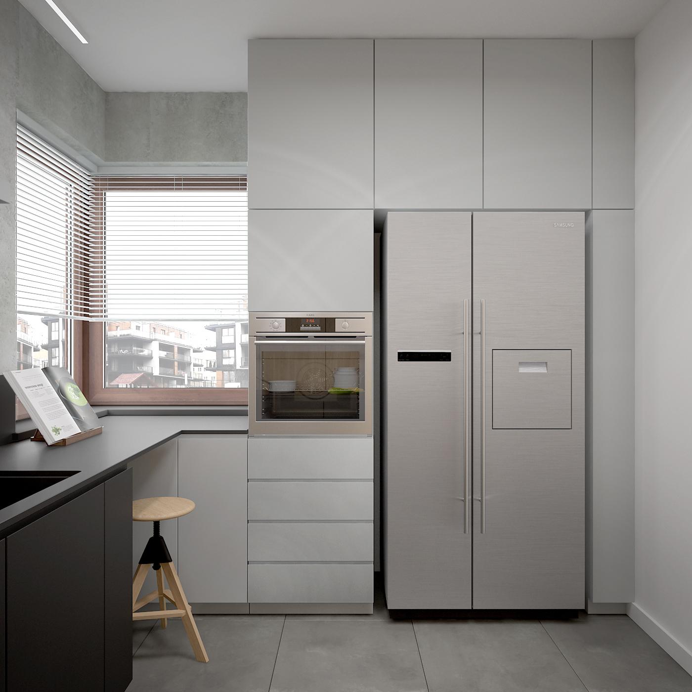 11 projekt wnetrza 537 mieszkanie krakow kuchnia lodowka side by side piekarnik w wysokiej zabudowie biale i czarne fronty