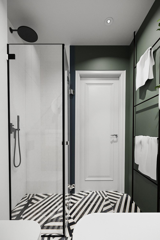 11 projektant wnetrz 482 mieszkanie krakow lazienka czarny prysznic szklana kabina z czarnymi profilami zielowna sciana czarna deszczewnica