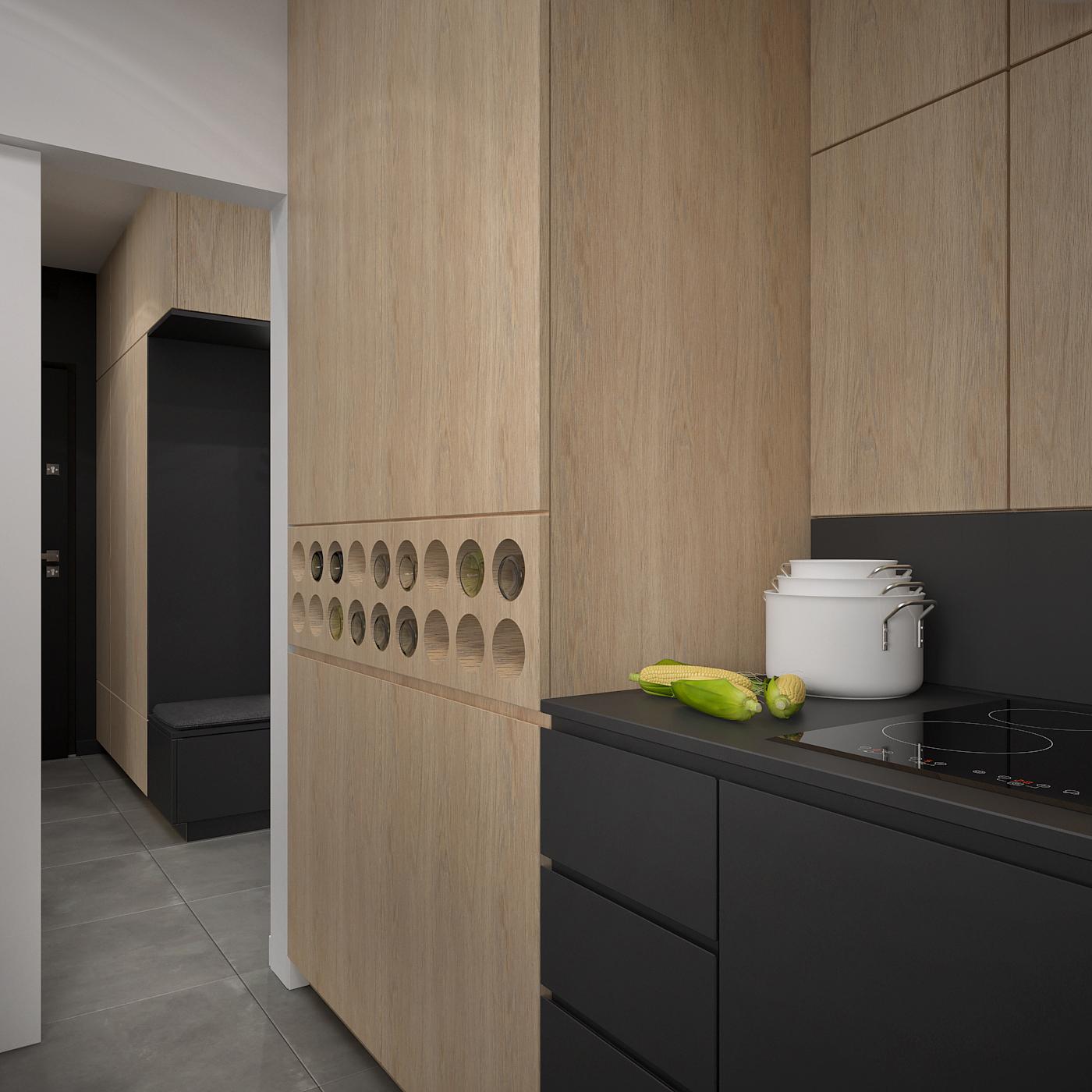 12 projekt wnetrza 537 mieszkanie krakow kuchnia okragle polki na wina czarna zabudowa meblowa fornirowane elementy