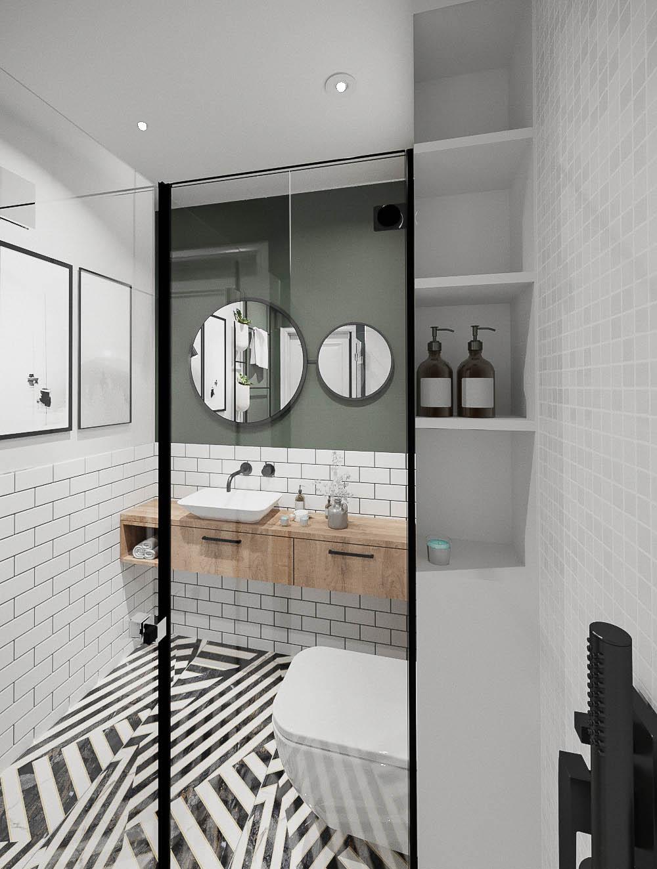12 projektant wnetrz 482 mieszkanie krakow lazienka czrny prysznic polki w zabudowie szklana kabina prysznicowa w czarnej ramie
