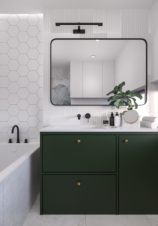 13 projektant wnetrz 482 mieszkanie krakow lazienka zielona szafka pod umywalka umywalka wpuszczana w blat bateria podtynkowa