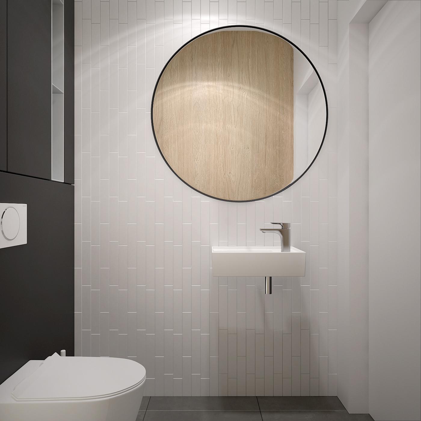 14 projekt wnetrza 537 mieszkanie krakow toaleta okragle lustro wiszaca umywalka biale plytki w cegielke uklad naprzemienny