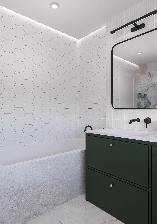 14 projektant wnetrz 482 mieszkanie krakow lazienka wanna zielona szfak umywalkowa plytki hexagonalne