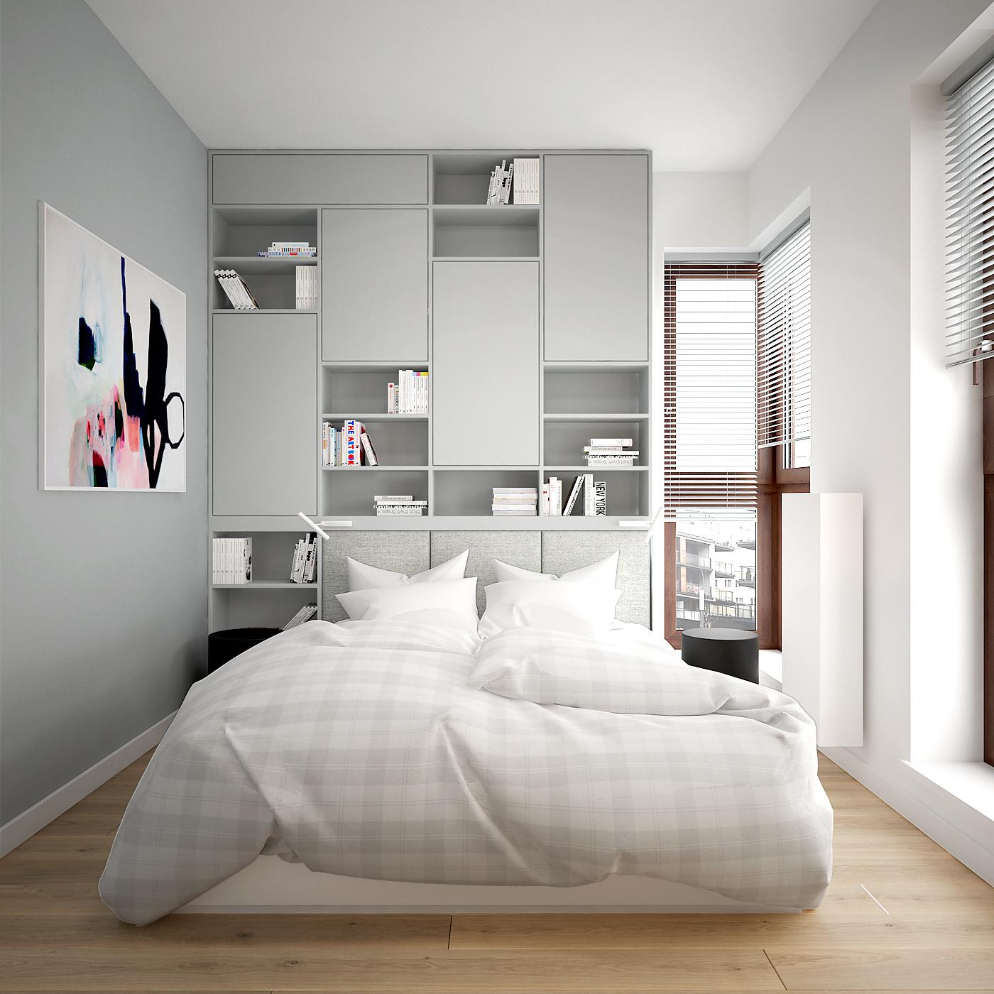15 projekt wnetrza 537 mieszkanie krakow sypialnia szara zabudowa meblowa za lozkiem tapicerowany zaglowek deska na podlodze