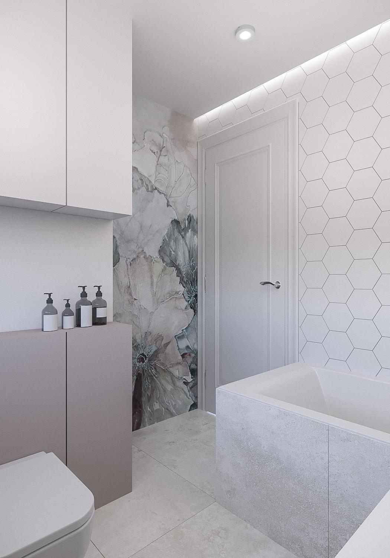 15 projektant wnetrz 482 mieszkanie krakow lazienka tapeta wodoodporna z motywam kwiatowym plytki hexagonalne wanna