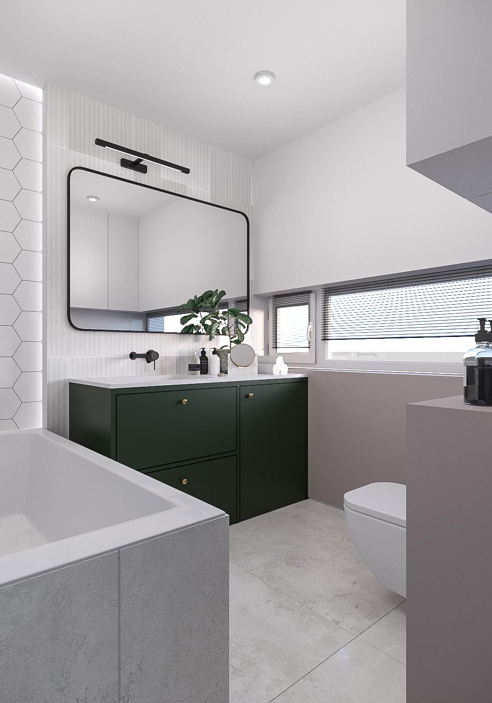 16 projektant wnetrz 482 mieszkanie krakow lazienka zielona szfka pod umywalka duze lustro bateria umywalkowa podtynkowa