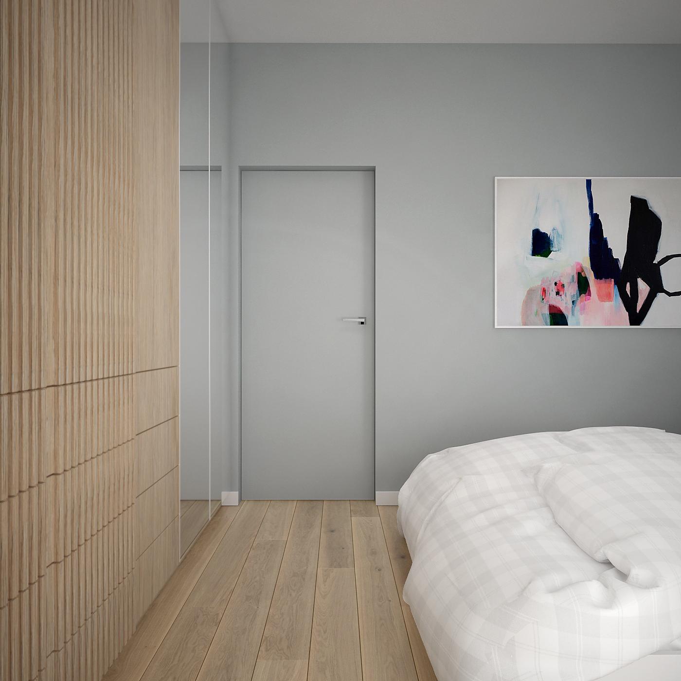 17 projekt wnetrza 537 mieszkanie krakow sypialnia szara sciana drzwi w kolorze sciany ukryta oscieznica