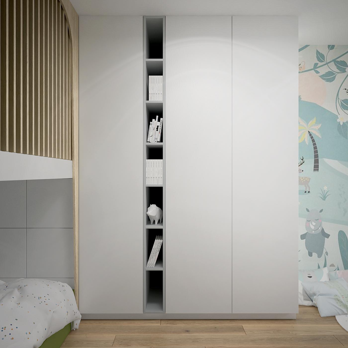 18 projekt wnetrza 537 mieszkanie krakow pokoj dziecka duza zabudowa garderobiana tapeta ze zwierzetami deska na podlodze