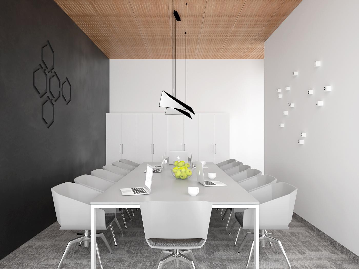 2 aranzacja biura 485 biuro krakow sala konferencyjna duzy bialy stol konferencyjny szare krzesla czarna sciana z logo 3d azurowy wygluszajacy panel sufitowy