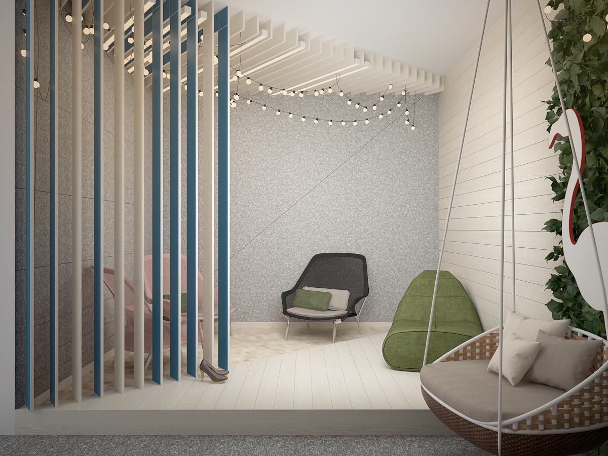 2 projekt biura 489 strefa rekreacyjna azurowe panele sufitowe azurowa scianka piasek fotele plazowe wiszacy fotel