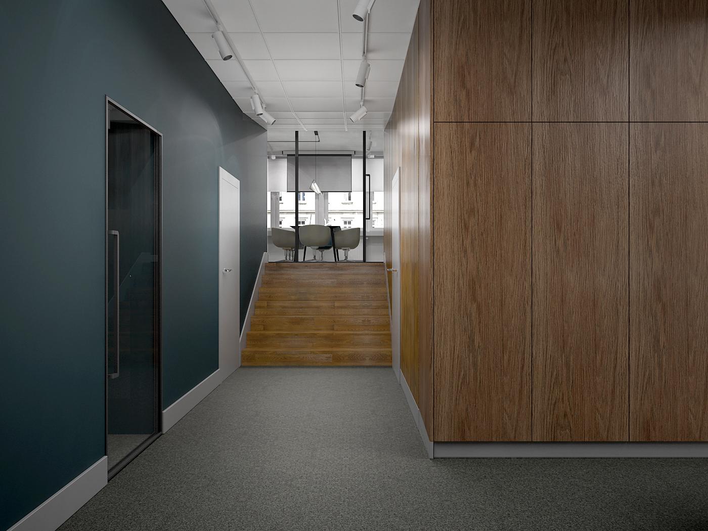 2 projekt biura 547 Kancelaria warszawa korytarz sciana z plyty meblowej wykladzina obiektowa oswietlenie na szynoprzewodach drewniane schody