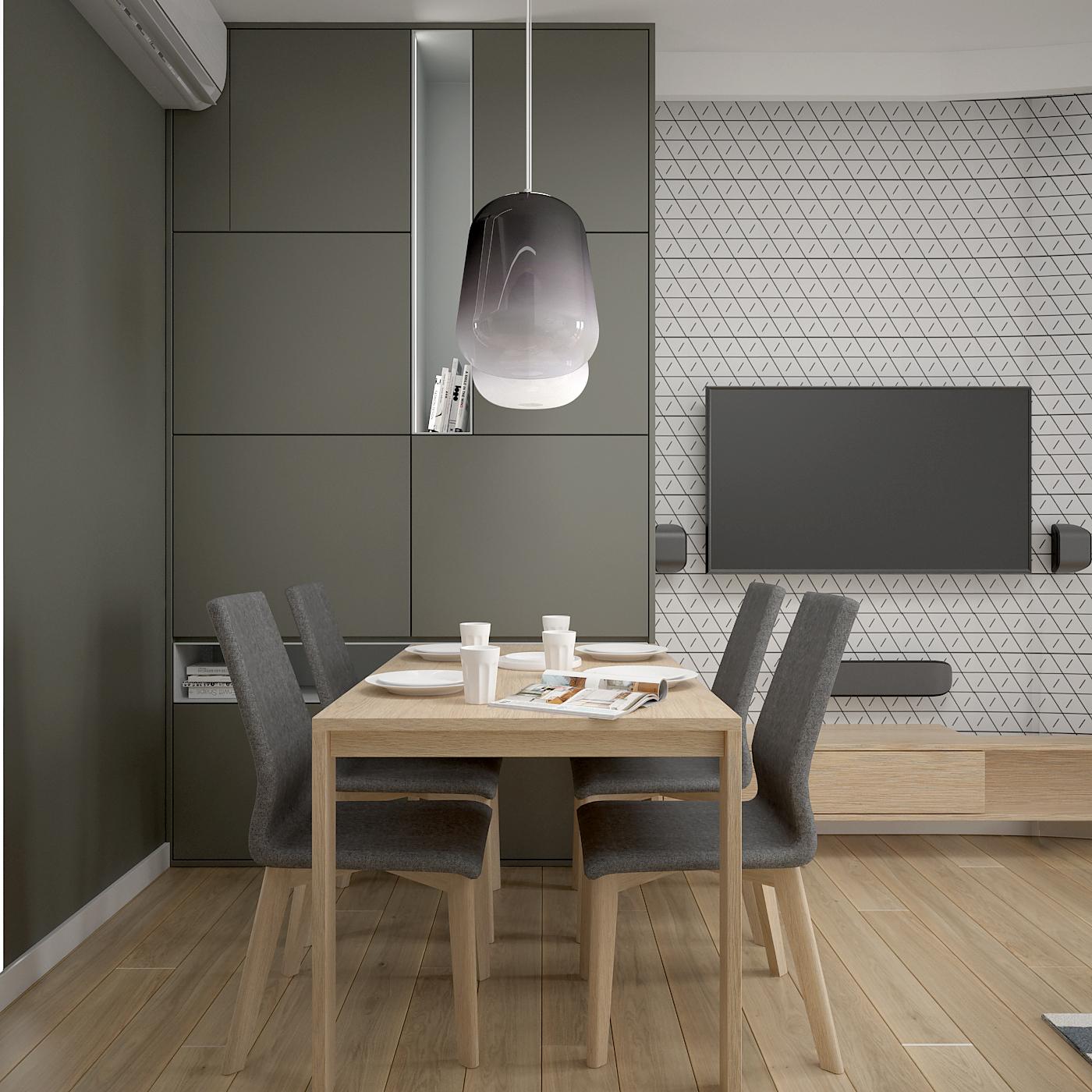 2 projekt wnetrza 537 mieszkanie krakow salon z jadalnia geometryczna tapeta za telewizorem drewniany stol tapicerowane krzesla