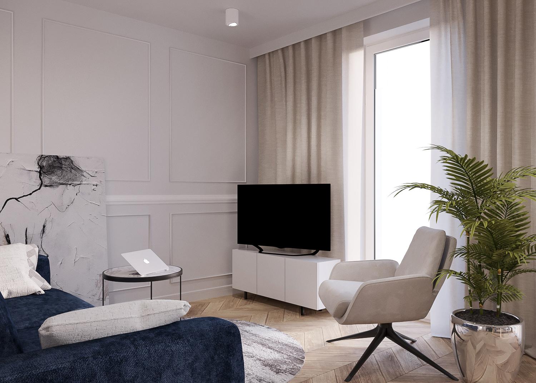 2 projektant wnetrz 482 mieszkanie krakow salon granatowa sofa panale nascienne nowoczeny fotel szafka na telewizor