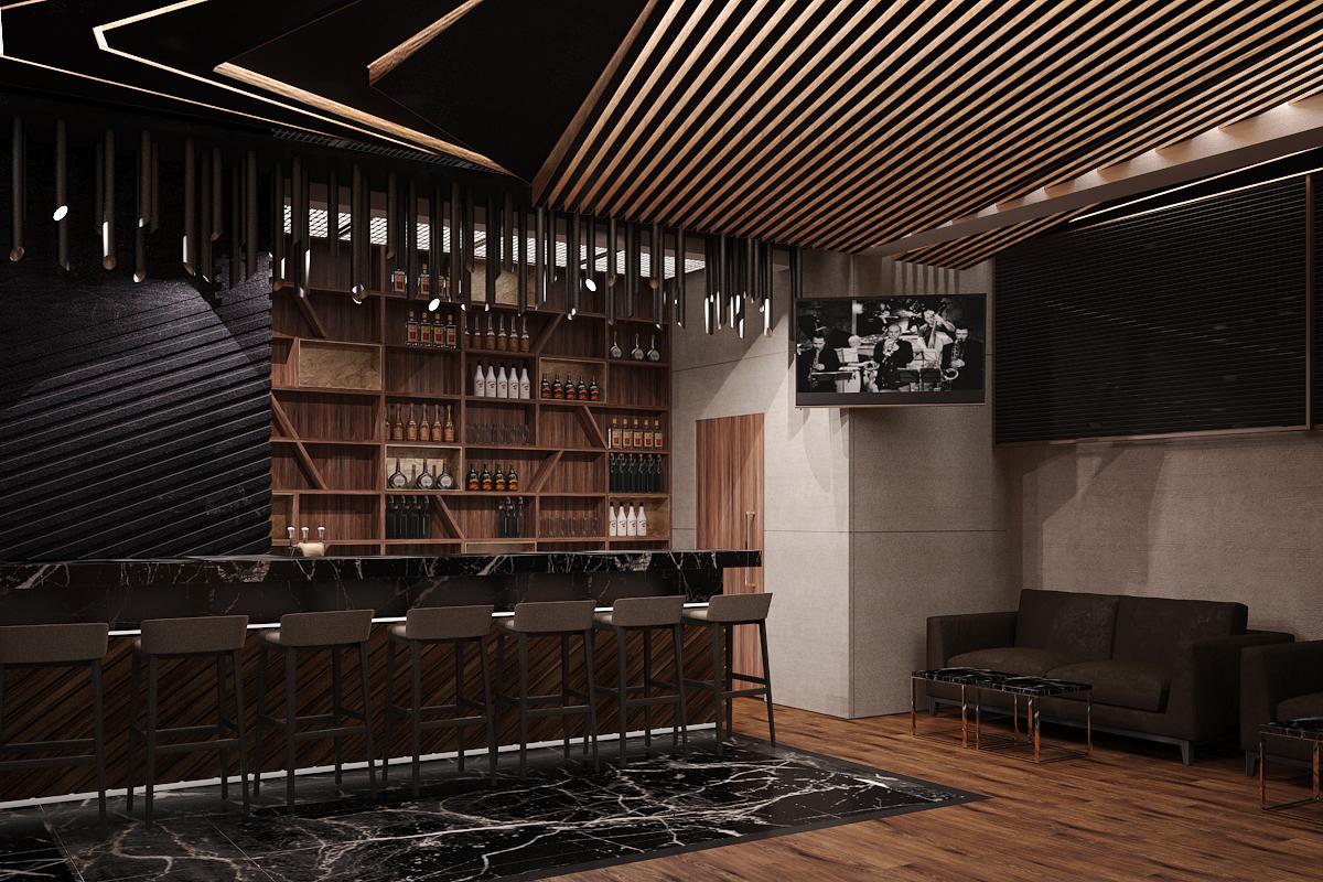 2 wizualizacje wnetrza 475 klub muzyczny krakow sala barowa barz z hokerami czarny granit polka na butelki azurowy sufit z desek sicana z betonowych plyt