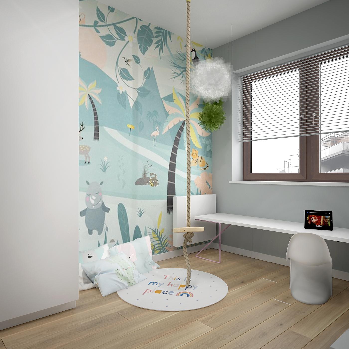 20 projekt wnetrza 537 mieszkanie krakow pokoj dziecka sznurowa hustawka tapeta z kreskowki okragly dywan deska na podlodze