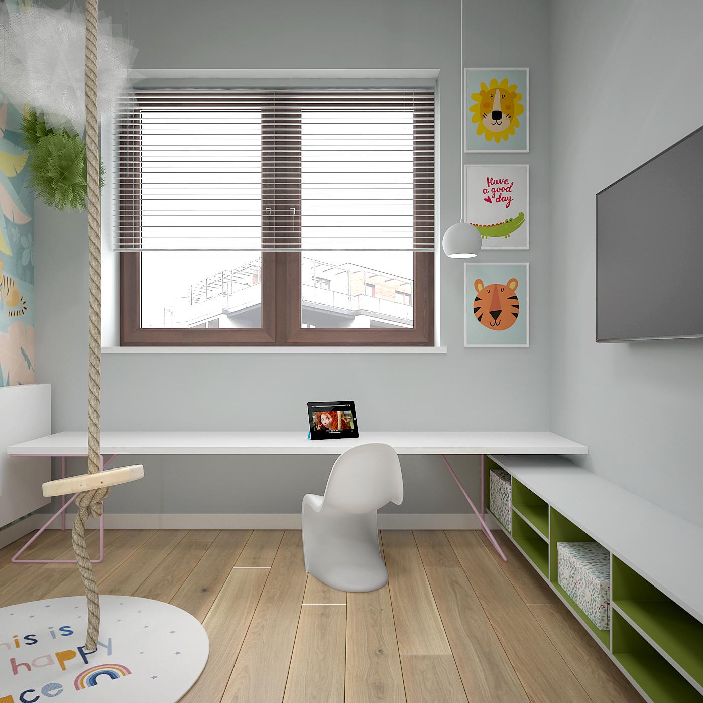 21 projekt wnetrza 537 mieszkanie krakow pokoj dziecka sznurowa hustawka niskie biurko komoda telewizor na scianie