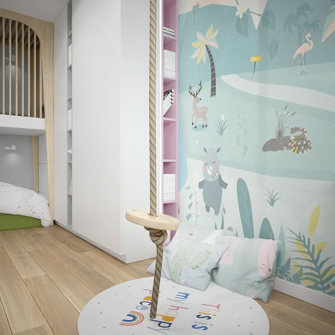 22 projekt wnetrza 537 mieszkanie krakow pokoj dziecka tapate z kreskowki sznurowa hustawka poduszki okragly dywan
