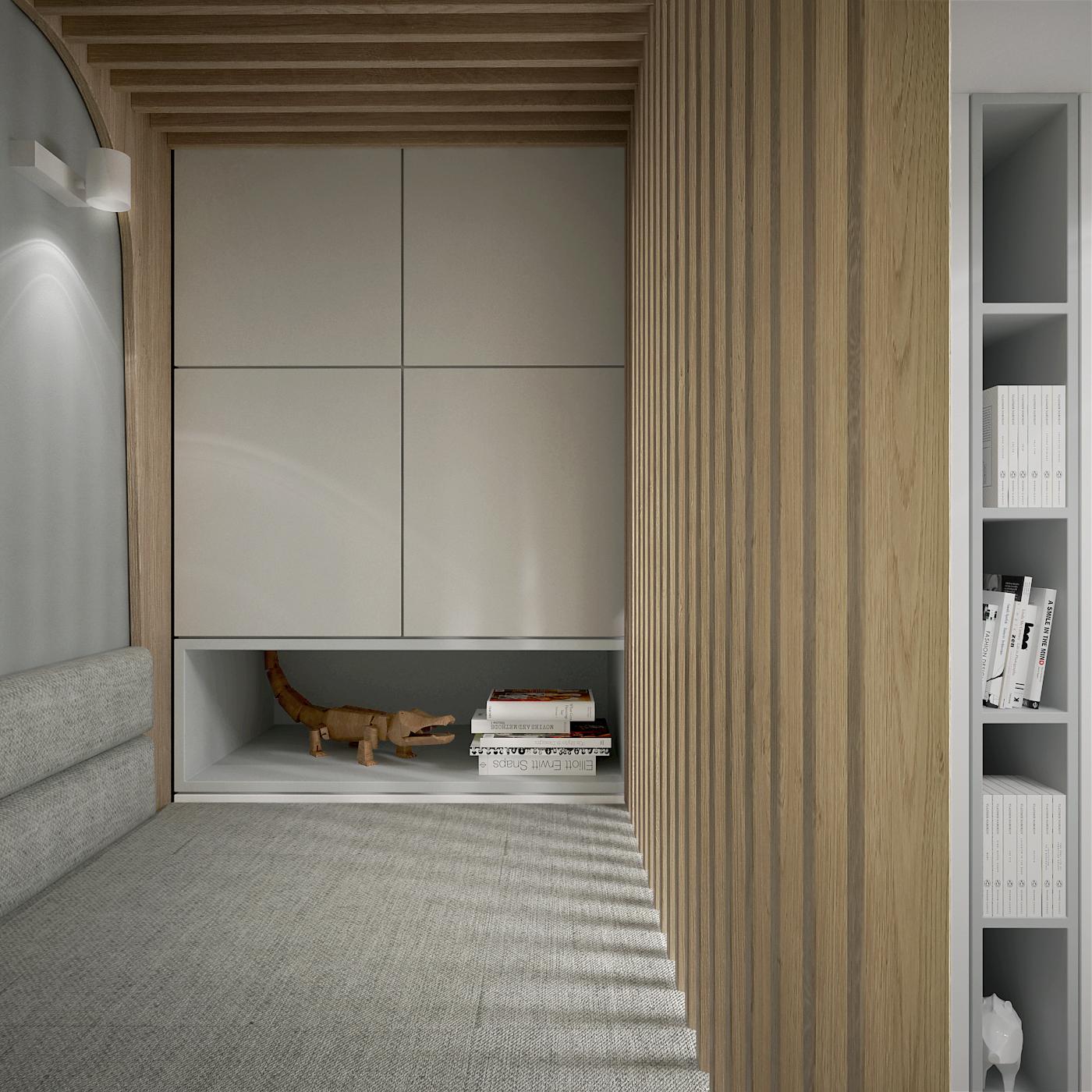 23 projekt wnetrza 537 mieszkanie krakow pokoj dziecka widok antresoli miejsce do zabawy tapicerowana sciana azurowe panele