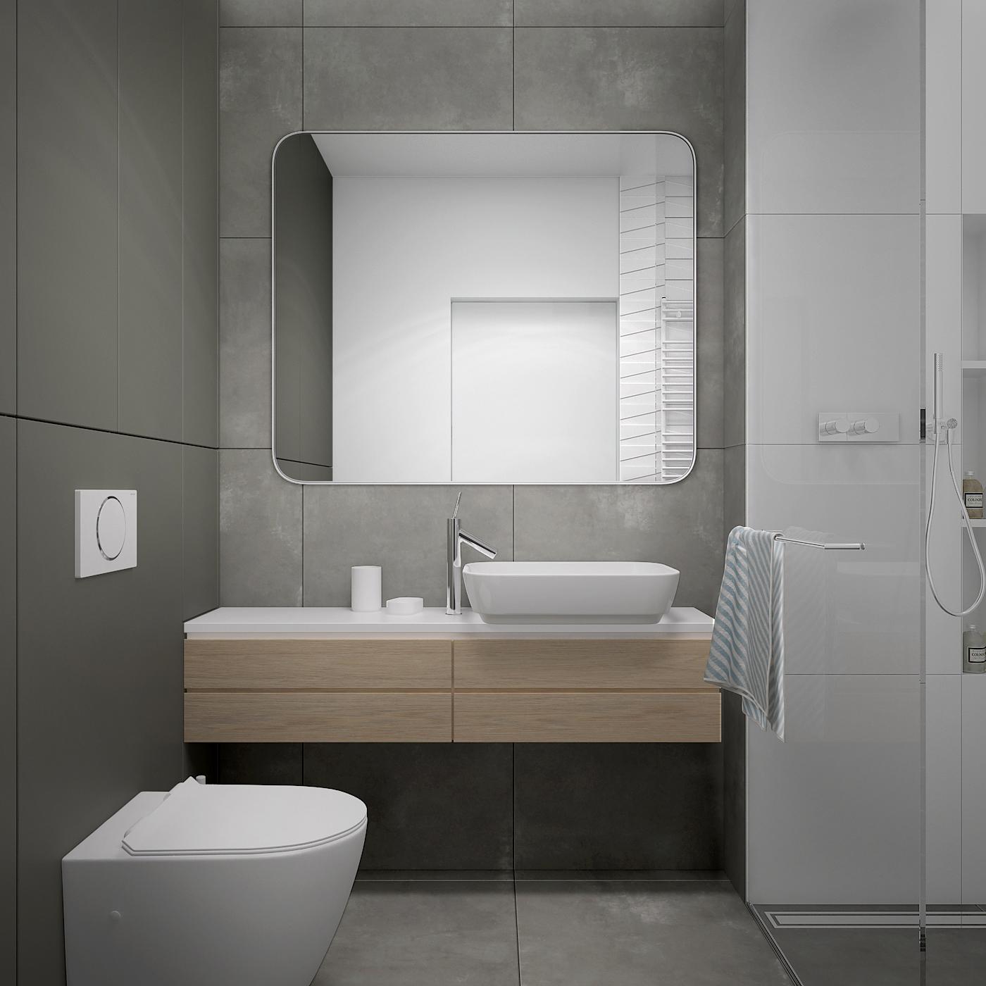 24 projekt wnetrza 537 mieszkanie krakow lazienka nablatowa umywalka nablatowa bateria umywalkowa kabina walkin wiszaca szafka umywalkowa