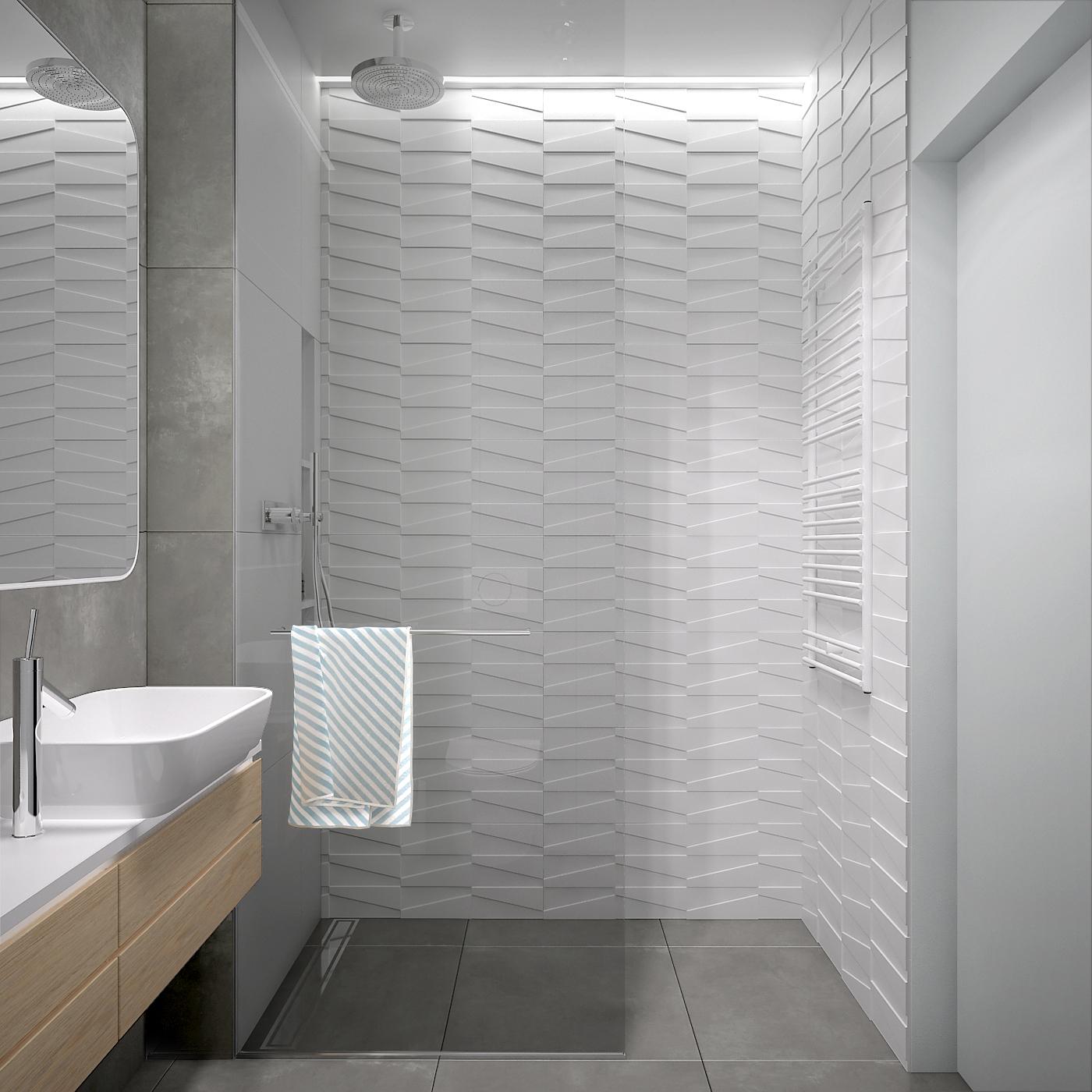 25 projekt wnetrza 537 mieszkanie krakow lazienka plytki 3d prysznic z deszczownica kabina walkin wieszak na recznik