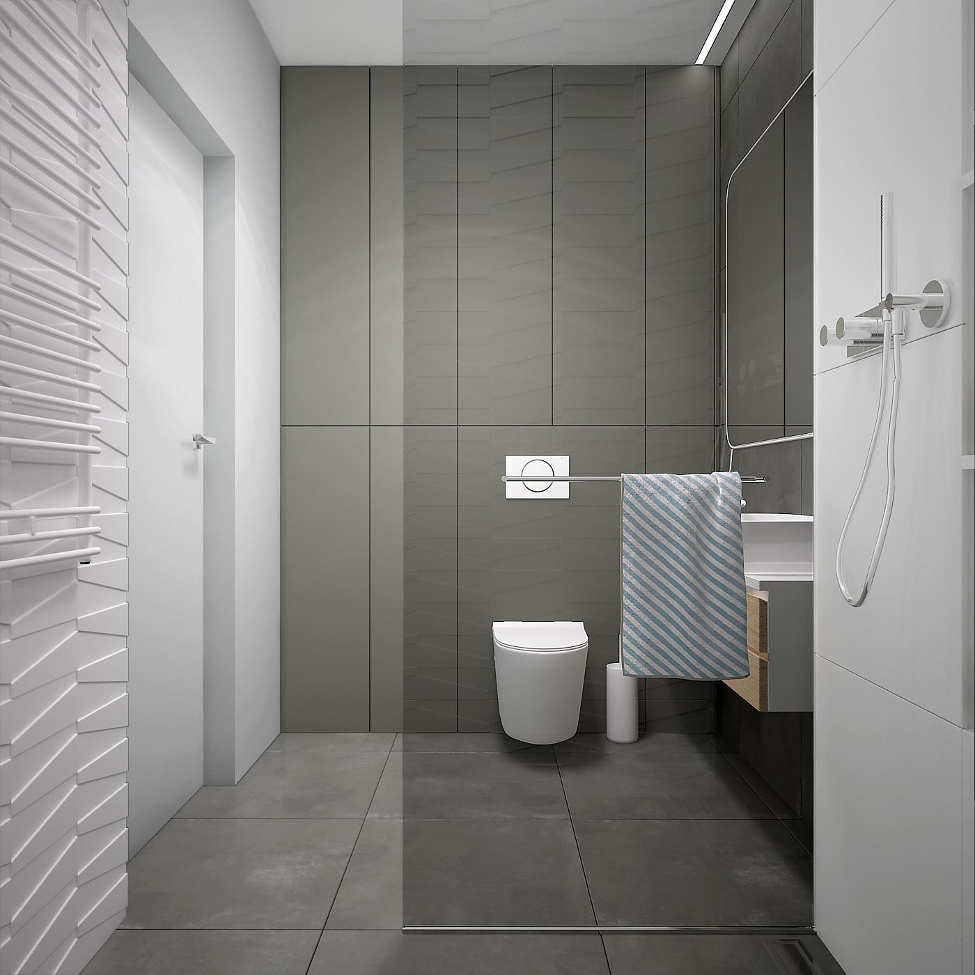 26 projekt wnetrza 537 mieszkanie krakow lazienka kabina prysznicowa walkin prysznic z deszczewnica plytki 3d szara podloga