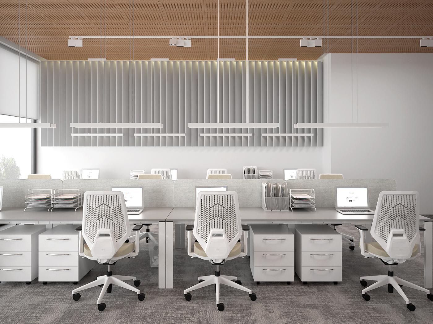 3 aranzacja biura 485 biuro krakow open space stanowiska pracy krzesla biurowe azurowy wygluszajacy sufit szara wykladzina obiektowa