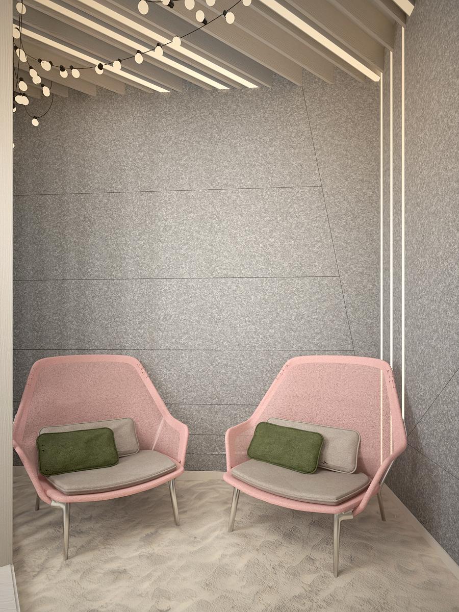 3 projekt biura 489 strefa rekreacyjna dwa wygodne fotele piasek filcowa sciana panele sufitowe