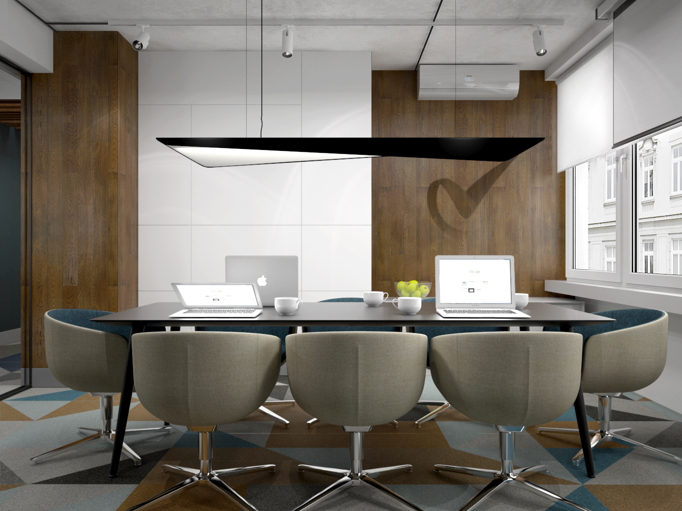 3 projekt biura 547 Kancelaria warszawa sala konferencyjna stol konferencyjny wygodne fotele wykladzina obiektowa logo na plycie meblowej