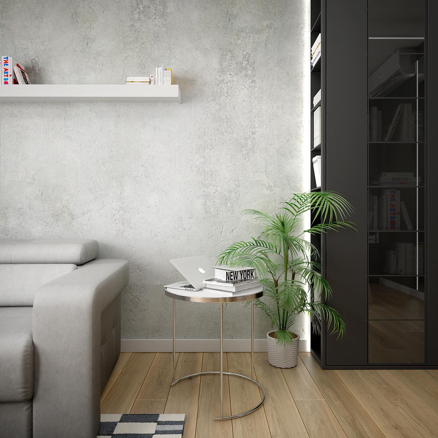 3 projekt wnetrza 537 mieszkanie krakow salon z jadalnia okragly stolik kawowy betonowa sciana biala polka czarna zabudowa