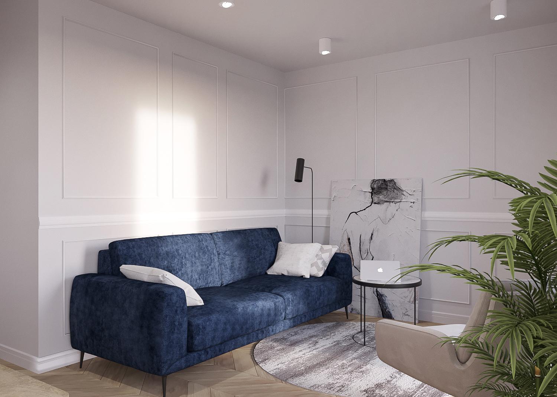 3 projektant wnetrz 482 mieszkanie krakow salon granatowa dwuosobowa sofa okragly stolik panele dekoracyjne na scianie parkiet w jodelke okragly dywan