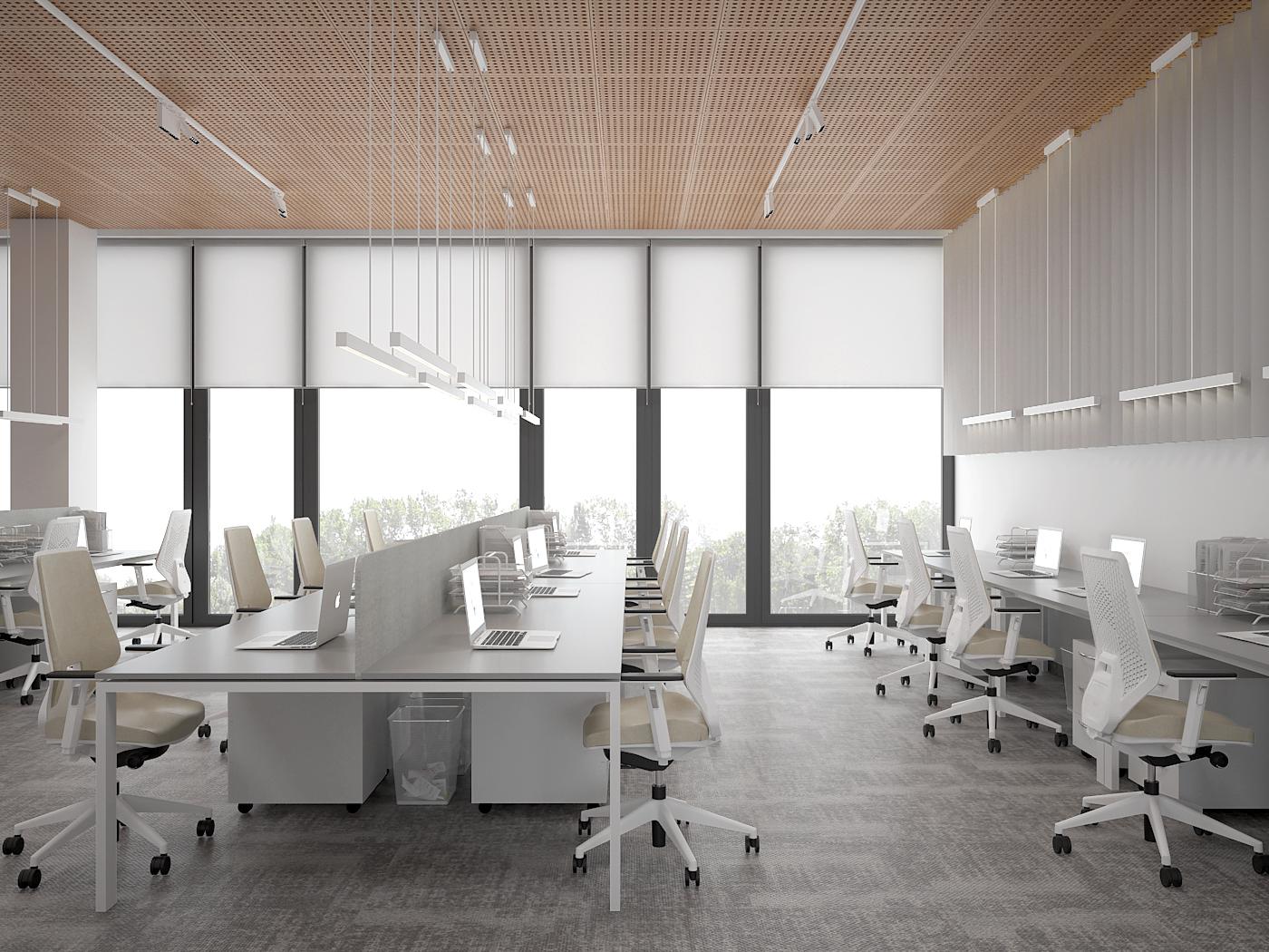 4 aranzacja biura 485 biuro krakow open space stanowiska pracy krzesla biurowe v1 azurowy wygluszajacy sufit wiszace oswietlenie oswietlenie na szynach