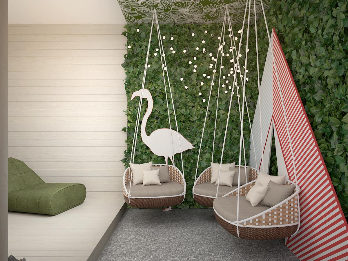 4 projekt biura 489 strefa rekreacyjna wiszace fotele zielona sciana tapeta na suficie tipi flaming panele na scianie