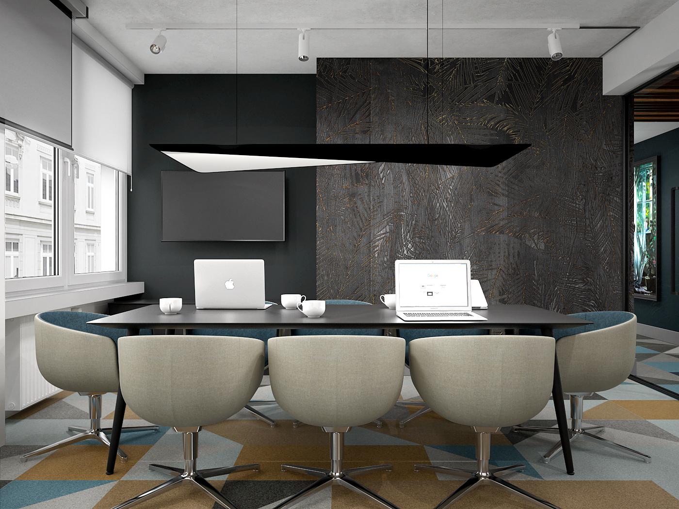 4 projekt biura 547 Kancelaria warszawa sala konferencyjna nowoczesny stol konferencyjny tapicerowane fotele czarna tapeta z motywem lisci wykladzina obiektowa