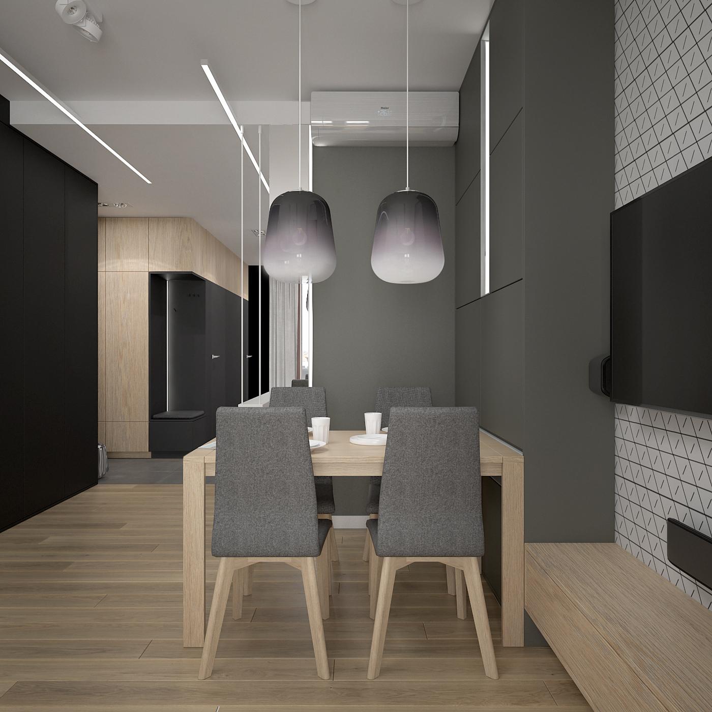 4 projekt wnetrza 537 mieszkanie krakow salon z jadalnia maly drewniany stol tapicerowane szare krzesla dwie lampy nad stolem