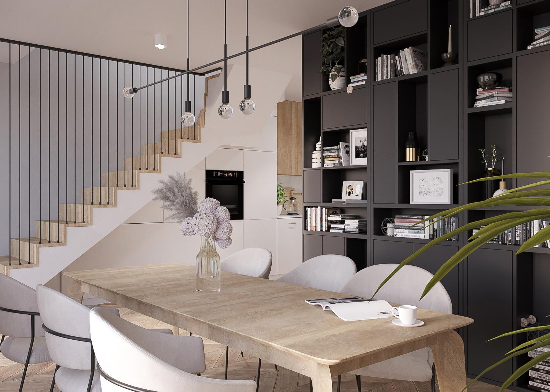 4 projektant wnetrz 482 mieszkanie krakow jadalnia z kuchnia czarna zabudowa drewniany stol schody dywanowe carne azurowe prety