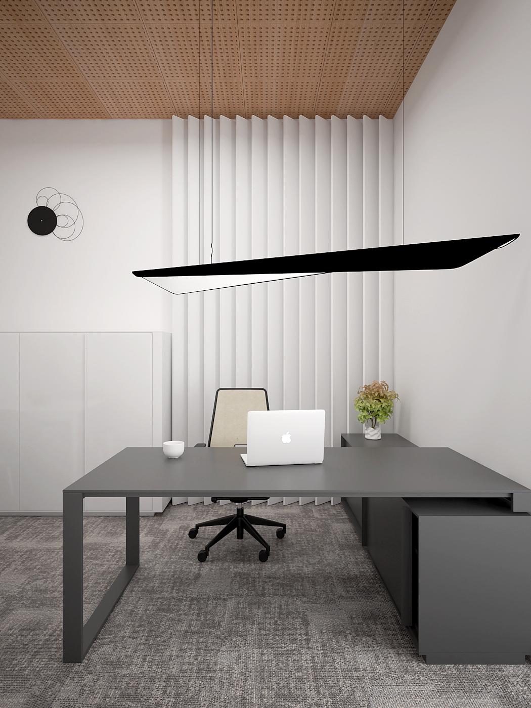 5 aranzacja biura 485 biuro krakow gabinet szare biurko z komoda fotel biurowy lamele na scianie azurowy sufit wygluszenie