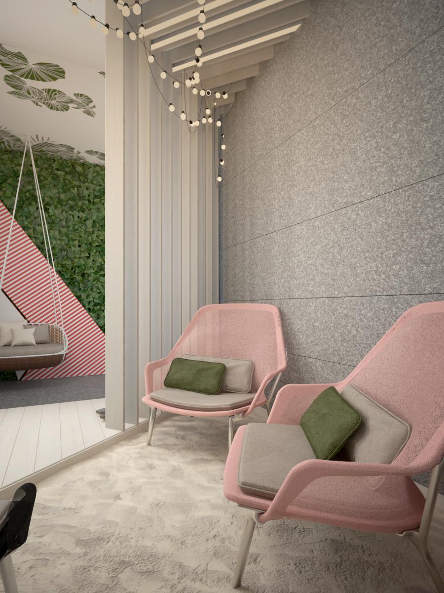 5 projekt biura 489 strefa rekreacyjna piasek fotele filcowa sciana azurowa scianka z paneli