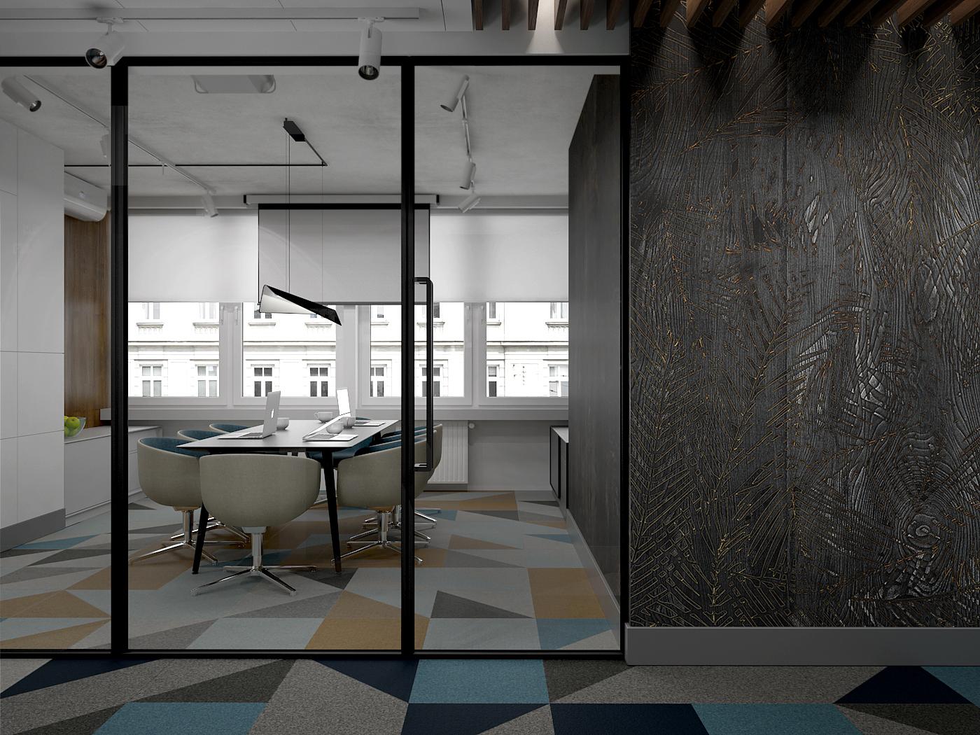 5 projekt biura 547 Kancelaria warszawa korytarz przeszklona scian do sali konferencyjnej tapeta na scianie wykladzina obiektowa