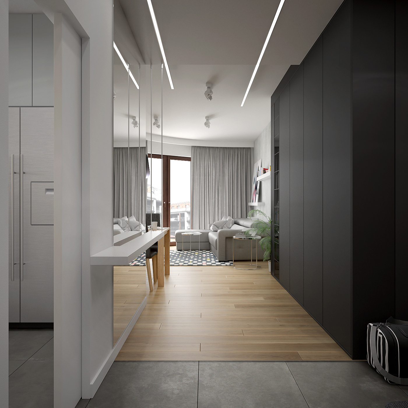 5 projekt wnetrza 537 mieszkanie krakow korytarz czarna zabudowa w przedpokoju duze lustro deska na podlodze