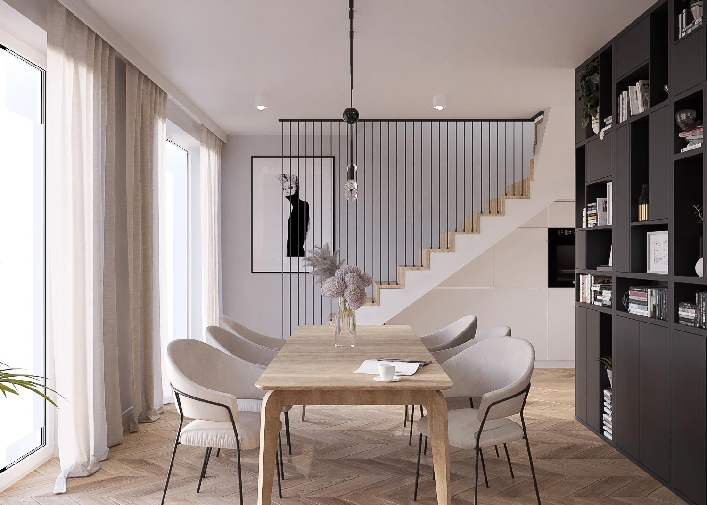 5 projektant wnetrz 482 mieszkanie krakow jadalnia schody dywanowe z drewna czarna zabudowa parkietw jodelke