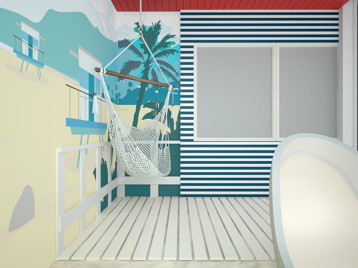 6 projekt biura 489 strefa rekreacyjna tapeta w motyw plazy hamak zabudowa budki ratownika