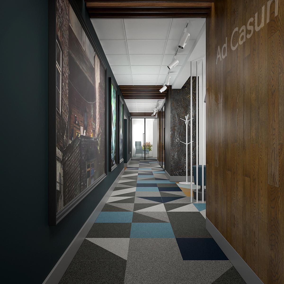 6 projekt biura 547 Kancelaria warszawa korytarz wykladzina w geometryczne wzory plyta meblowa na scianie czarna sciana z duzymi obrazami