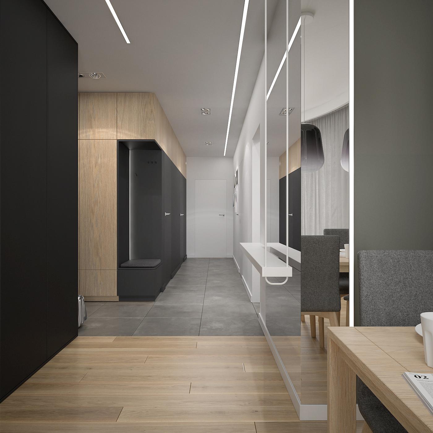 6 projekt wnetrza 537 mieszkanie krakow korytrz duze lustro czarna zabudowa sidzisko w zabudowie oswietlenie liniowe podtynkowe